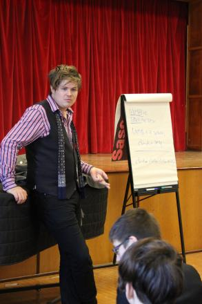 Luke Wright taking a poetry workshop at Riddlesdown Collegiate