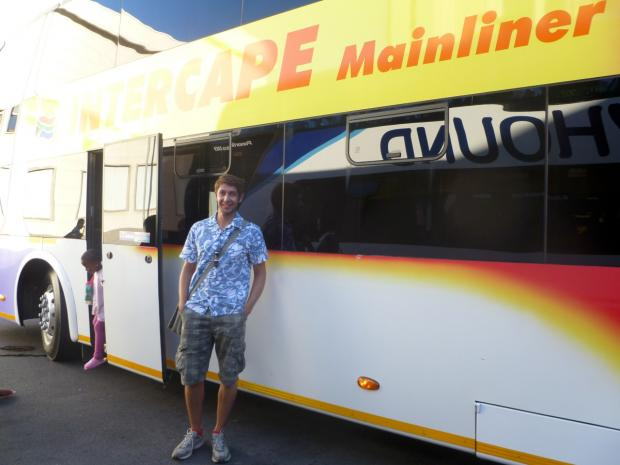 Croydon Guardian: A double decker bus took Mr Packham from Cape Town to Caledon, South Africa