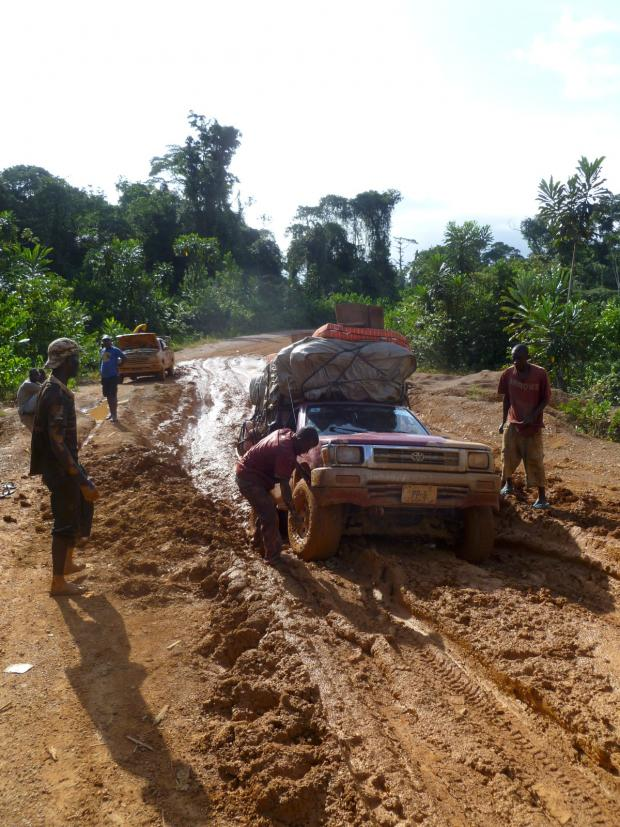 Croydon Guardian: The four wheel drive vehicle got stuck on the north-south Liberia highway