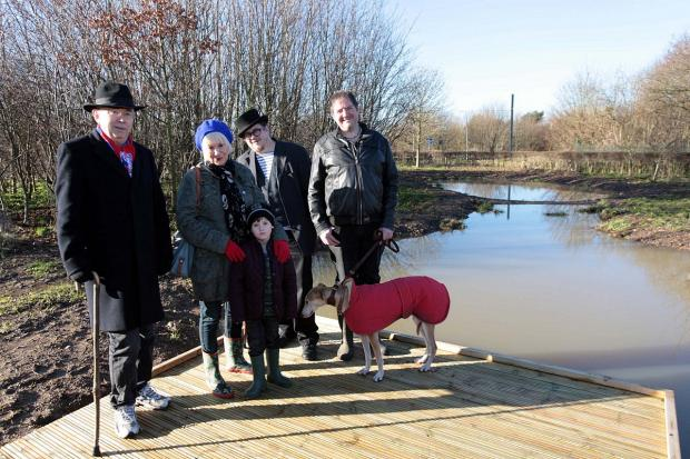 Jason Cooper, Ian Bone, Paul Dovey, Jane and Finlay Nicholl (5) by the new pond next to visitor's centre