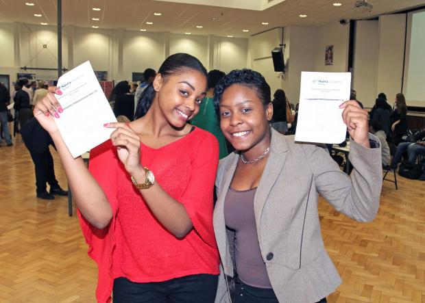 Students at Harris Academy Purley celebrate their GCSE results in August last year