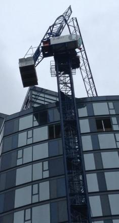 Road closures will be in place while the snapped crane in Wellesley Road, Croydon, is removed. Picture by Teuta Hoxha.