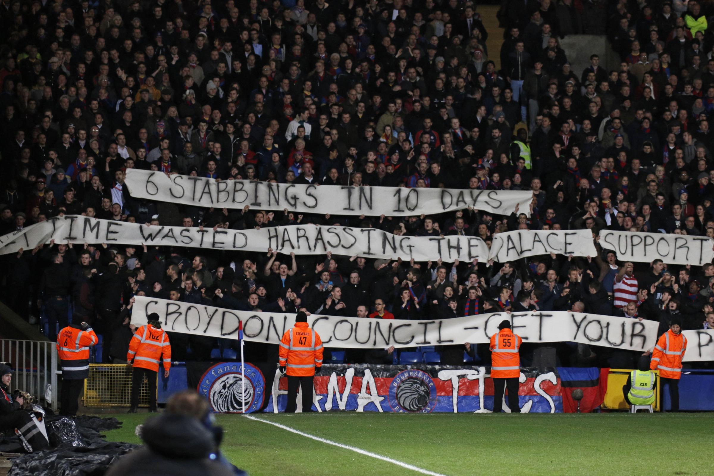 The banner held up by the Holmesdale Fanatics during the game.
