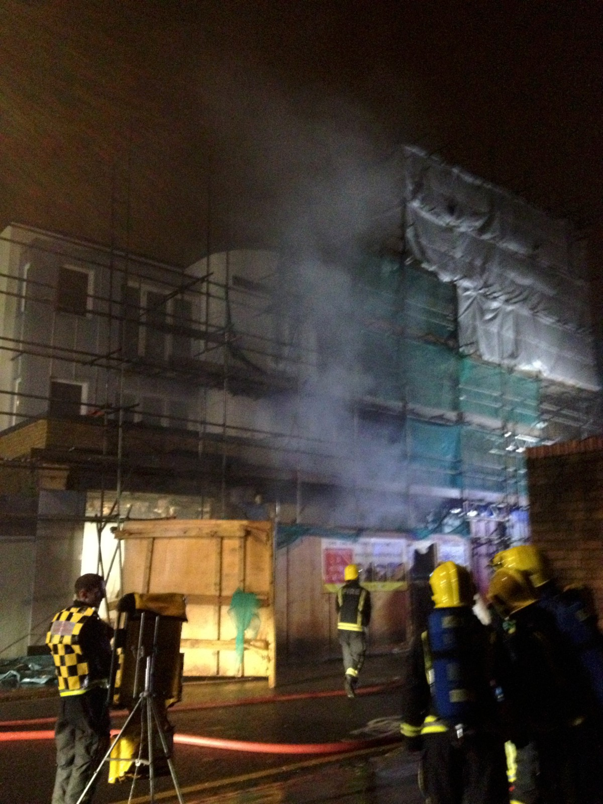 Fire crews managed to stop the fire spreading to flats above.