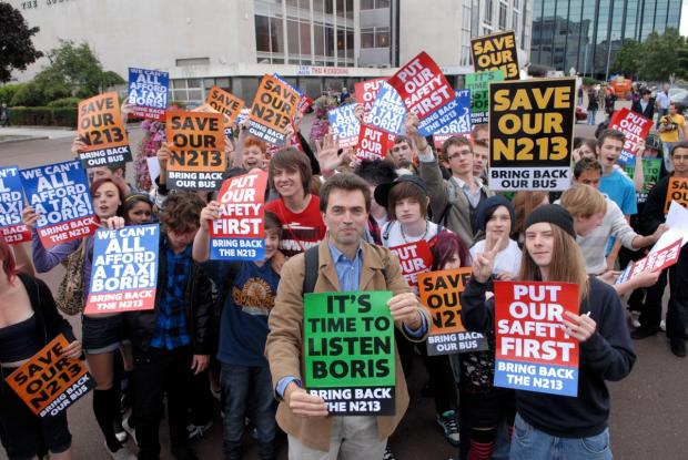 Tom Brake with protesters in 2009