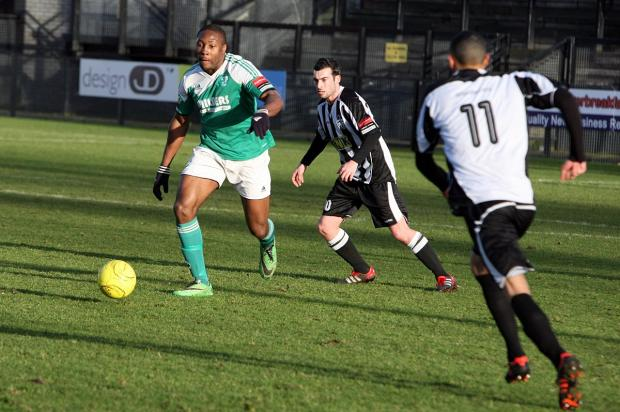 Terrors tamed: Jerry Nnamani during the 2-1 win at Tooting & Mitcham last weekend