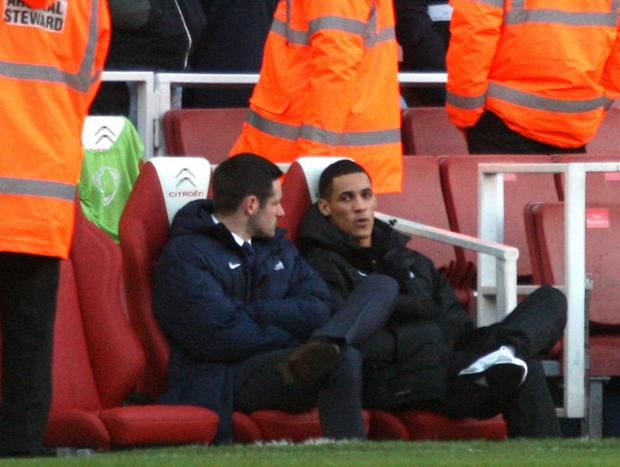 Tom Ince watched his new club Crystal Palace at the Emirates last week