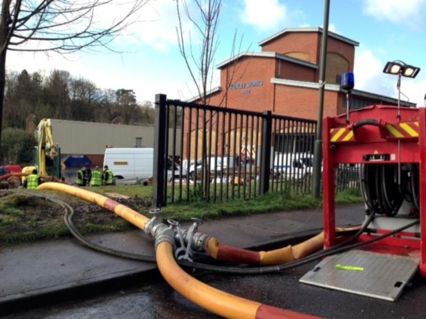 Croydon Guardian: Firefighters are at the Kenley water treatment works in Godstone Road