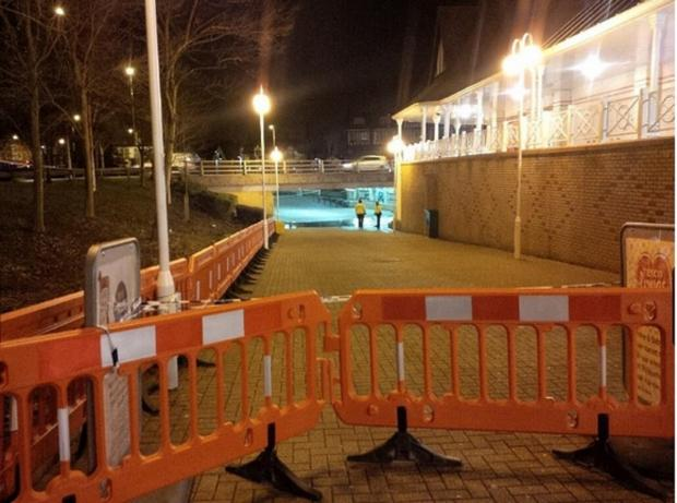 The Purley Cross underpass is cordoned off last night in preparation for it to be flooded (Pic Michael Snasdell)