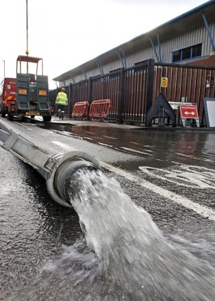 Water is being pumped out of the Kenley water treatment works