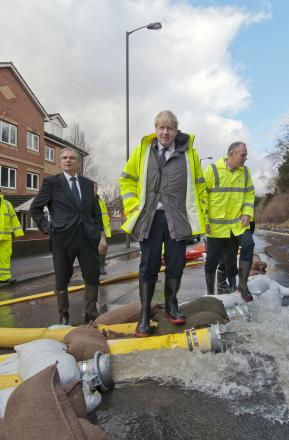 Boris Johnson visited Kenley to talk to people affected by the floods