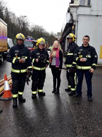 Mark Youll sales and lettings negotiator with the firefighters. Picture courtesy of Bethany Taylor