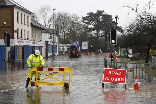 Flooding in Godstone Road, Whyteleafe, on Tuesday