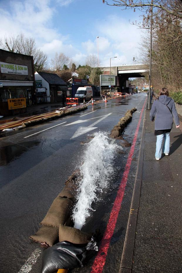 Croydon Guardian: Water is being pumped away down Godstone Road