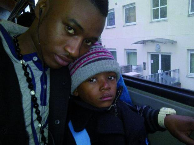 Jermaine Strachan and his six-year-old son Maliki