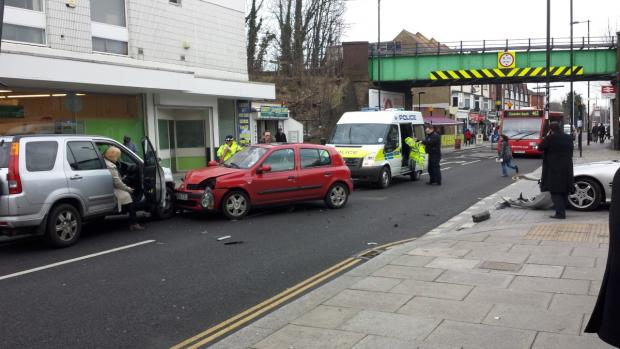 One driver suffered a neck injury in the collision in Brighton Road, Coulsdon