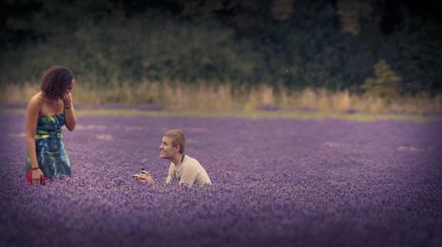 Tim proposes to Simona in the Banstead lavender fields