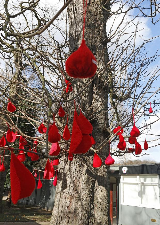Croydon Guardian: More than 100 woollen blood drops were used to create the effect in Crystal Palace Park