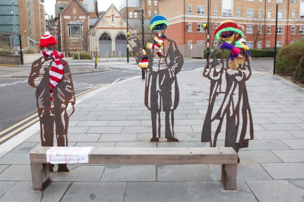 Croydon Guardian: Dame Peggy Ashcroft, Samuel Coleridge-Taylor and Ronnie Corbett are being kept warm by the yarn bombers efforts