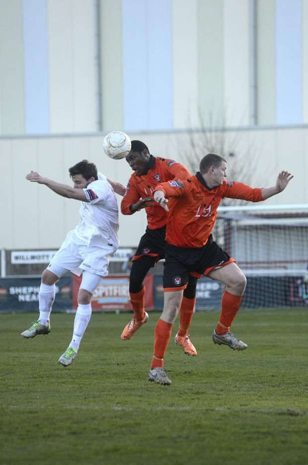 Croydon Guardian: Involved: Walton Casuals' Jamal Jimoh gets in the action in the 3-2 defeat to Horsham