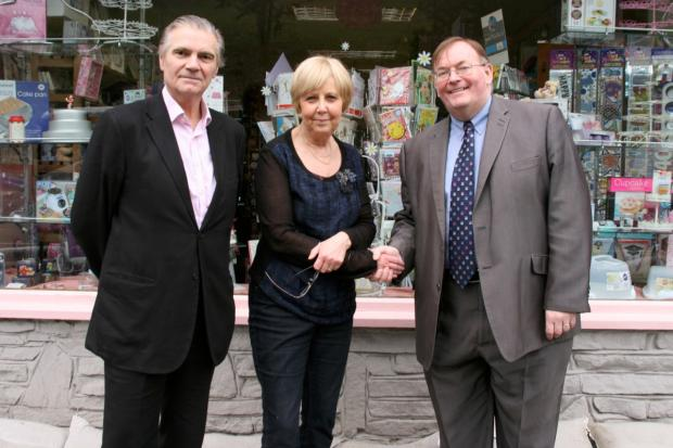 Items for Sugarcraft shop owner Pamela Parrott is one of the business people to receive a cheque from Kenley ward councillor Steve O'Connell and Croydon Council leader Coun Mike Fisher