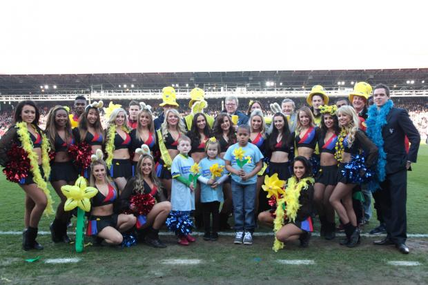 The Marie Curie team were joined on the pitch by the Crystals