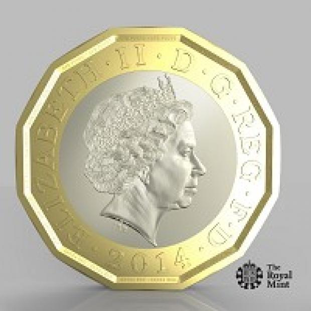 Croydon Guardian: One side of a new one-pound coin unveiled by the Government, which officials said will be the most secure coin in circulation in the world (PA/HM Treasury)