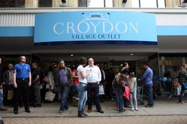 Shoppers outside Croydon Village Outlet on its opening day in September