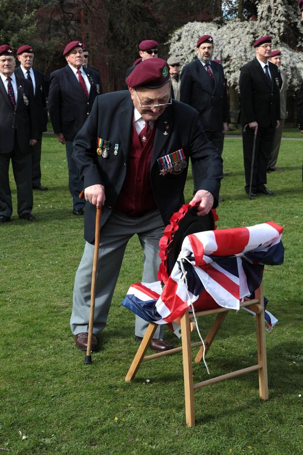 Croydon Guardian: Private Johnny Johnson laid a wreath at the ceremony