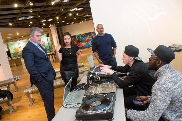 High streets minister Brandon Lewis learned about the work of Lives Not Knives during his visit