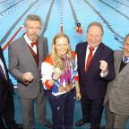 Croydon Guardian: Top Paralympic swimmer Susie Rodgers at Charlton Lido's relaunch, pictured middle with L-R Managing director of GLL Mark Sezans, David Golton of London Marathon Charitable trust,  Cllr Peter Kotz and Cllr Jim Gillman.