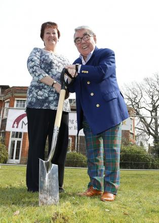 Ronnie Corbett with Hall Grange care home manager Jan Norman