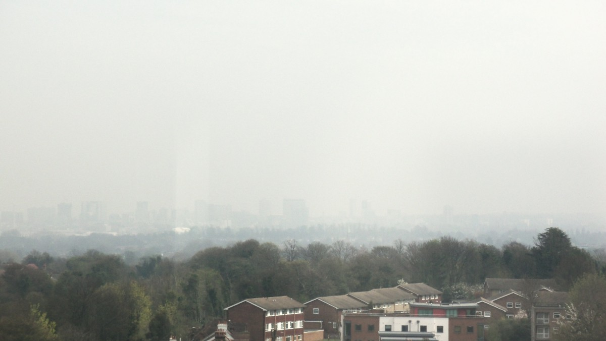 Smog: a view over south London yesterday