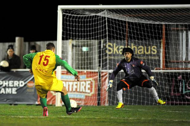 On his way: Ex-Casuals keeper Ferhat Aksoy suffered miserably at the hands of Walton & Hersham in a 5-1 defeat last month