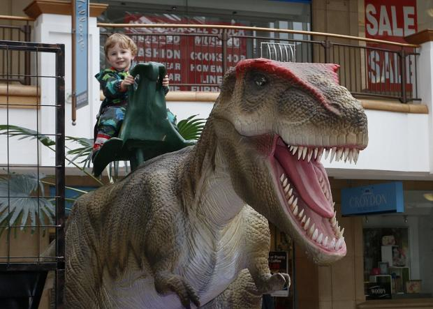 Four-year-old James Bradley enjoys riding the T-Rex