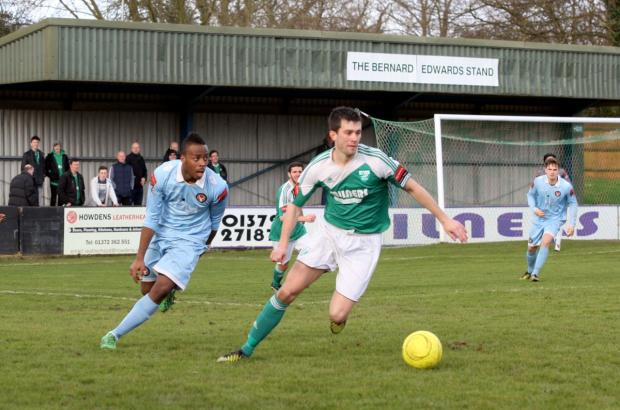 Opener: Tom Parkinson grabbed the first goal in Leatherhead's 5-0 win at Crawley Down Gatwick
