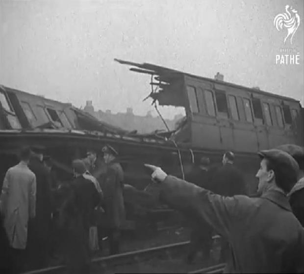 The aftermath of the 1947 South Croydon train crash is captured on film