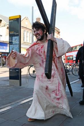 The reenactment of the crucifixion in Croydon today