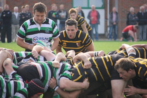 Memorable: Scrum half Sam Williams communicates with his pack in a season that will live long in the memory of everyone associated with London Cornish          Picture: Ben Gilby