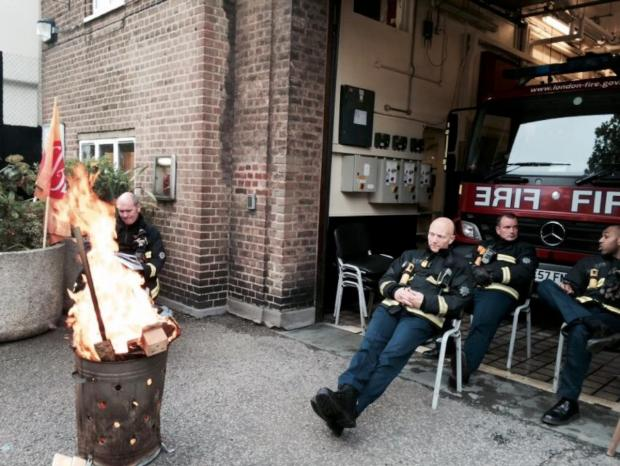 Croydon Guardian: Firefighters outside Battersea Fire Station during the strike on Friday, May 2