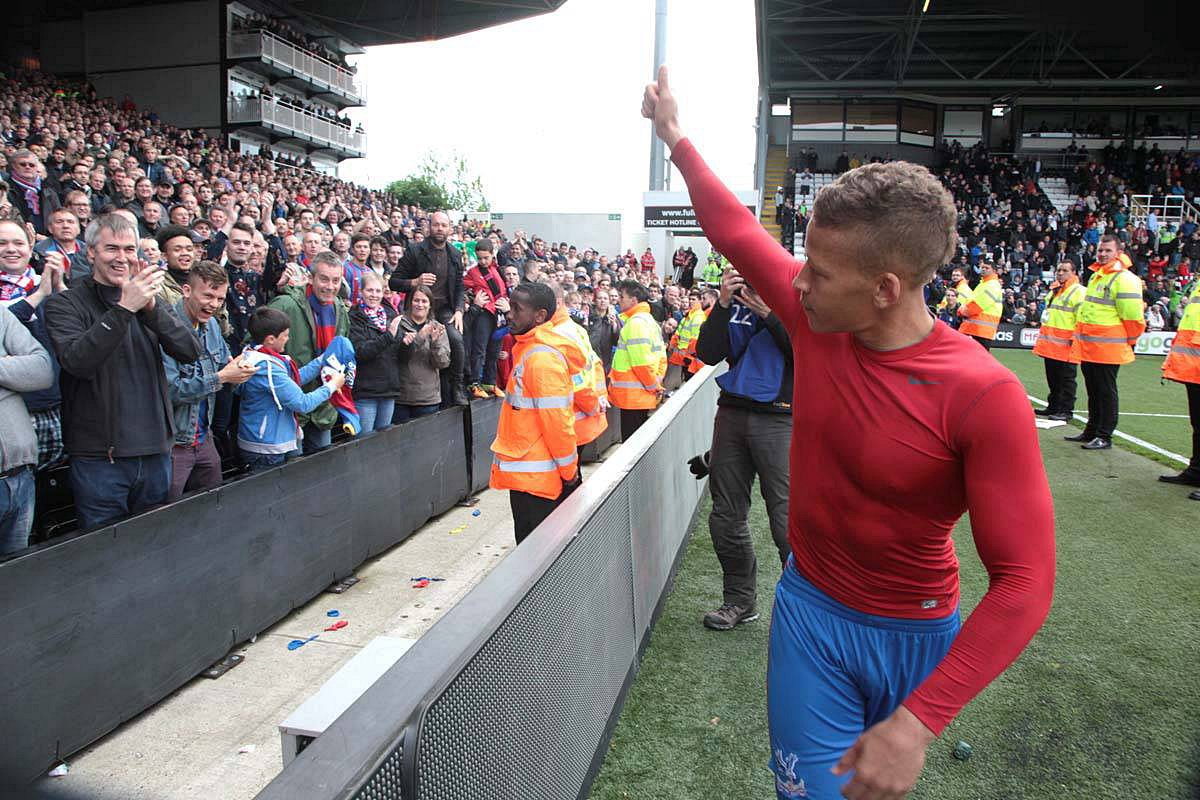 Thank you and have a good summer: Dwight Gayle signed off for Palace with both goals in the 2-2 draw at Fulham