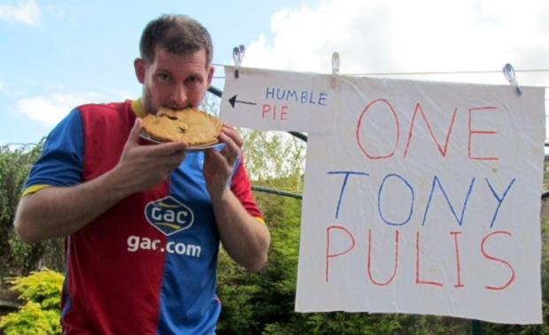 Croydon Guardian: Dale Taylor eating humble pie. He ate the whole thing.
