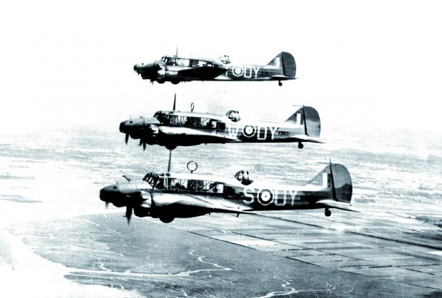 A flight of Avro Ansons similar to the one that crashed in Canada on a wartime flight. Copyright is MOD Crown