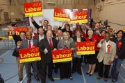New Addington's new councillors Louisa Woodley and Oliver Lewis celebrating with Labour leader Tony N