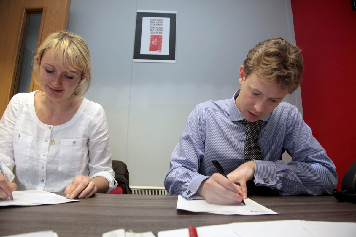 Wimbledon Guardian's Louisa Clarence-Smith and Nick Hitchens join the bone marrow register