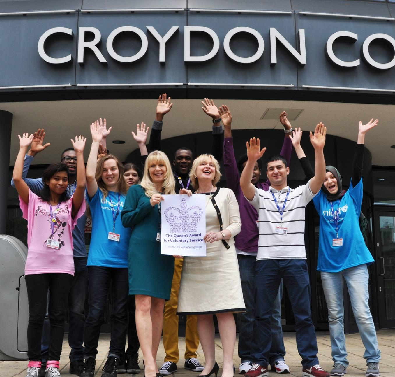 Croydon College staff and students celebrate the award