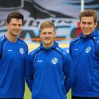 Croydon Guardian: Joining up: Former Elmbridge Eagles youngster Harvey Burnett, left, with Joe Keyes and Toby Everett