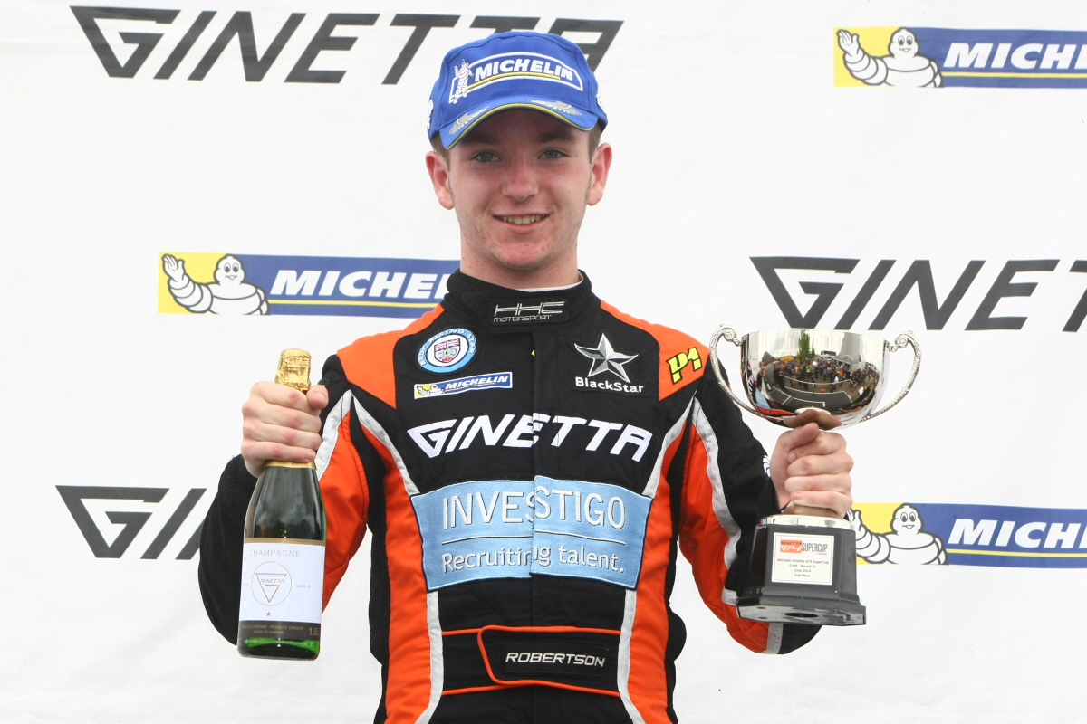 Podium man: Charlie Robertson claimed two second place finishes at Croft last weekend