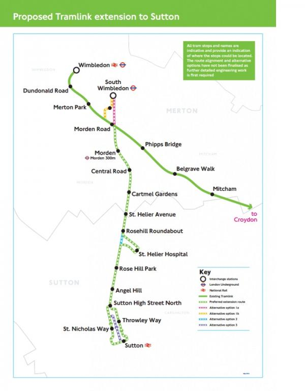 Proposed future tram routes