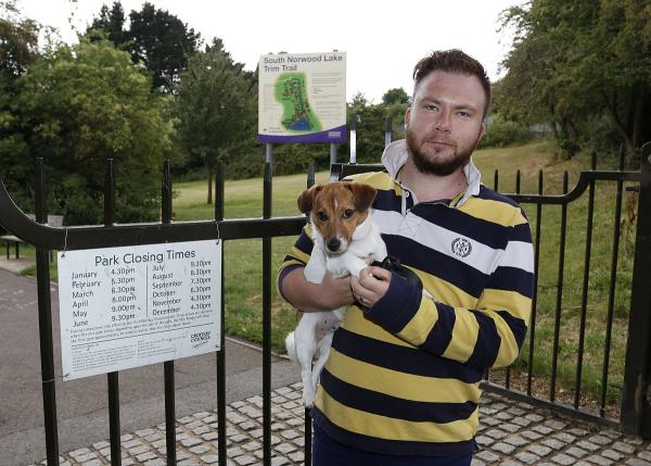 Frazer Scott with his dog Albie at South Norwood Lake and Grounds Park